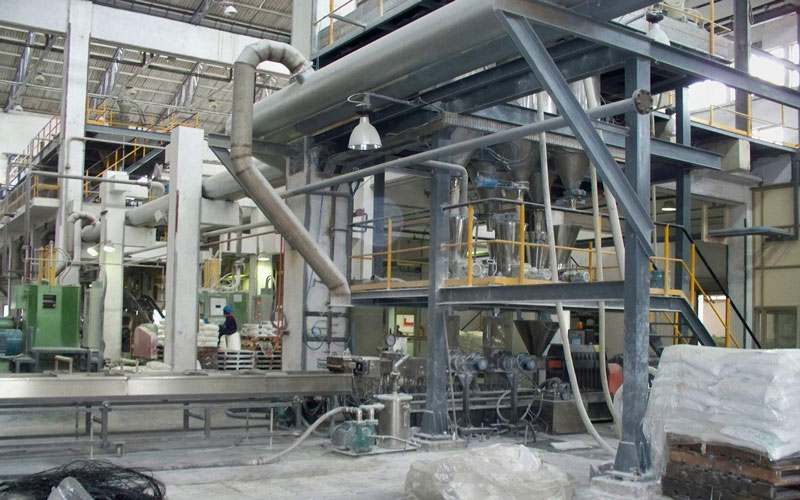 700kg/h 配失重秤的PP填料造粒线 印度